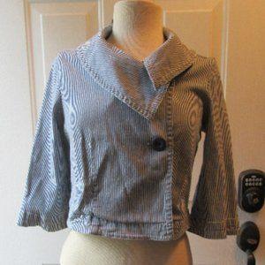 LAL Blue/white striped denim jacket size small
